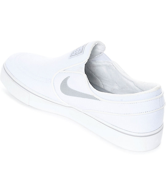 Nike SB Janoski White & Wolf Grey Slip-On Canvas Skate Shoes