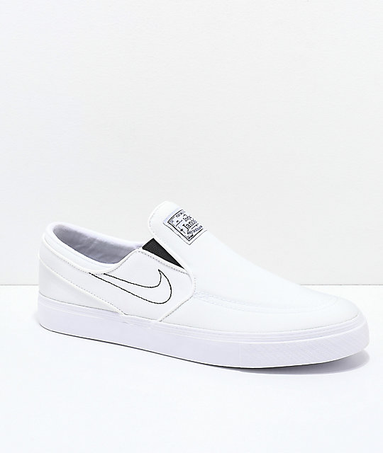 f4b2bba615d5 Nike SB Janoski White Slip-On Canvas Skate Shoes