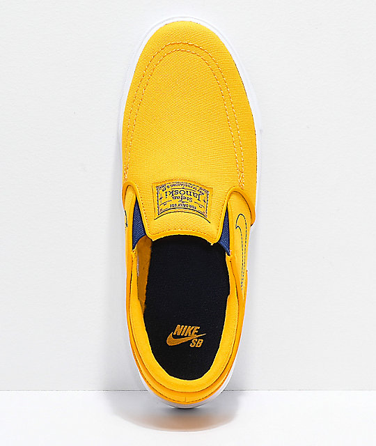 Nike SB Janoski Yellow & White Canvas Slip-On Skate Shoes