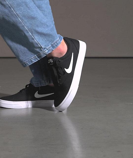 Nike SB Kids Charge Black & White Skate Shoes | Zumiez