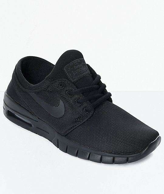 2a72981ad1 Nike SB Kids Janoski Air Max All Black Skate Shoes | Zumiez