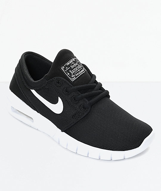 d9aeaee051 Nike SB Kids Janoski Air Max Black & White Skate Shoes | Zumiez