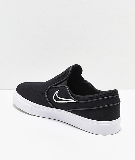 Nike SB Kids Janoski Black & Bone Canvas Slip-On Skate Shoes