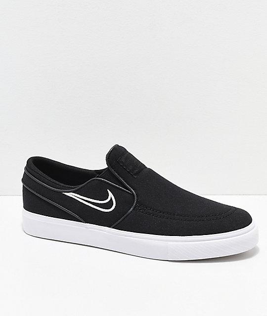 Nike SB Kids Janoski Black & Bone Canvas Slip-On Skate Shoes ...