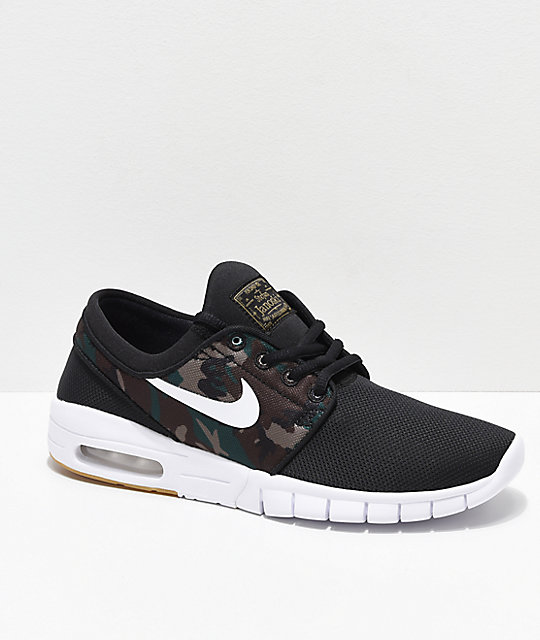 Nike SB Kids Janoski Max Black & Camo Skate Shoes