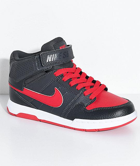 Nike SB Kids Mogan Mid 2 Anthracite   University Red Skate Shoes ... 9d5c0127e76e