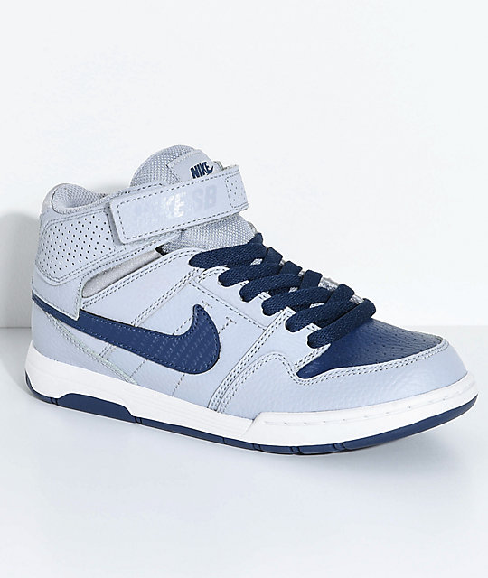 b1cb3f1588e2 Nike SB Kids Mogan Mid 2 Wolf Grey   Midnight Navy Skate Shoes