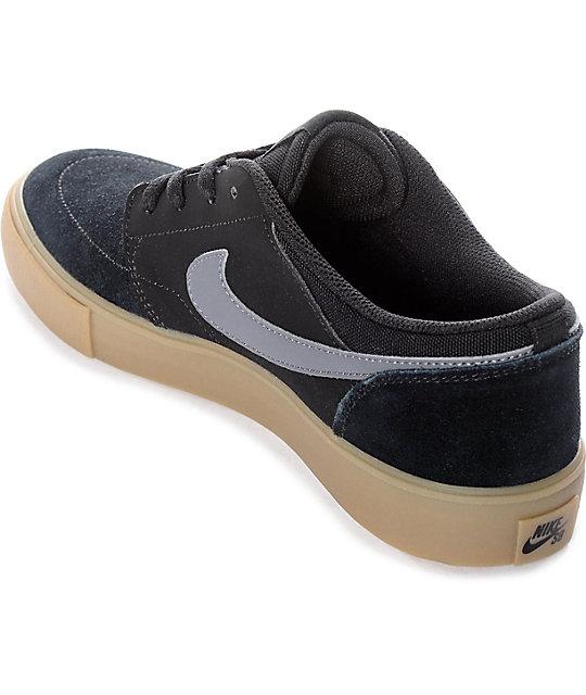 Nike Sb Portmore Ii Black Grey And Gum Skate Shoes