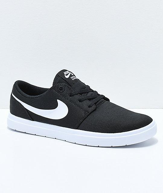 4522bad0767a3e Nike SB Kids Portmore II Ultralight Black   White Skate Shoes