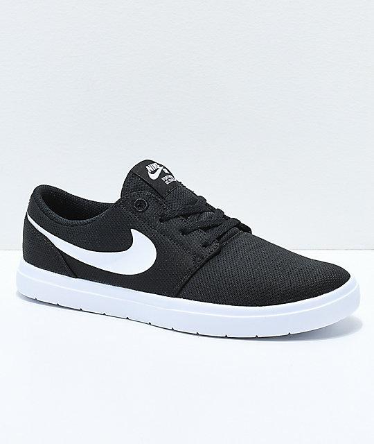 Nike SB Kids Portmore II Ultralight Black & White Skate Shoes ...