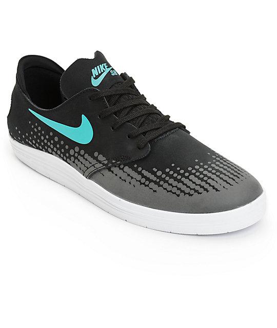 best service c93cd bcec0 Nike SB Lunar Oneshot Black, Light Retro,   White Skate Shoes   Zumiez