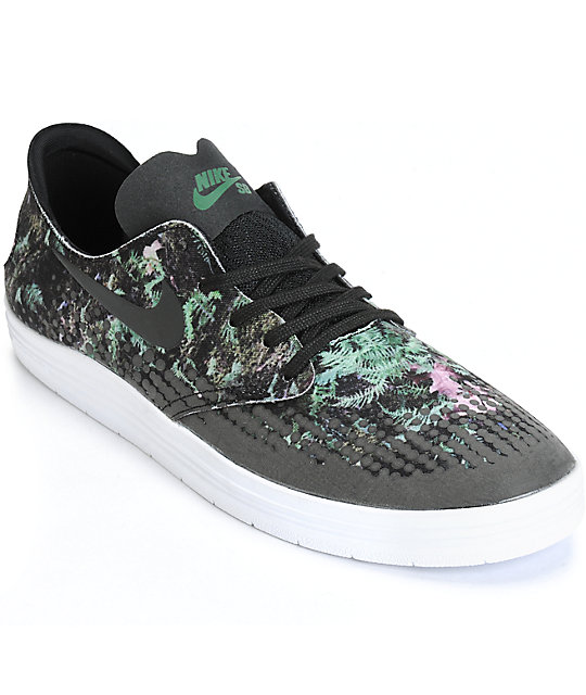 buy online b42ae 84de4 Nike SB Lunar Oneshot Black  Gorge Green Skate Shoes  Zumiez