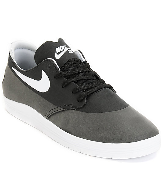 first rate 08a16 3f7ac Nike SB Lunar Oneshot Black   White Skate Shoes   Zumiez