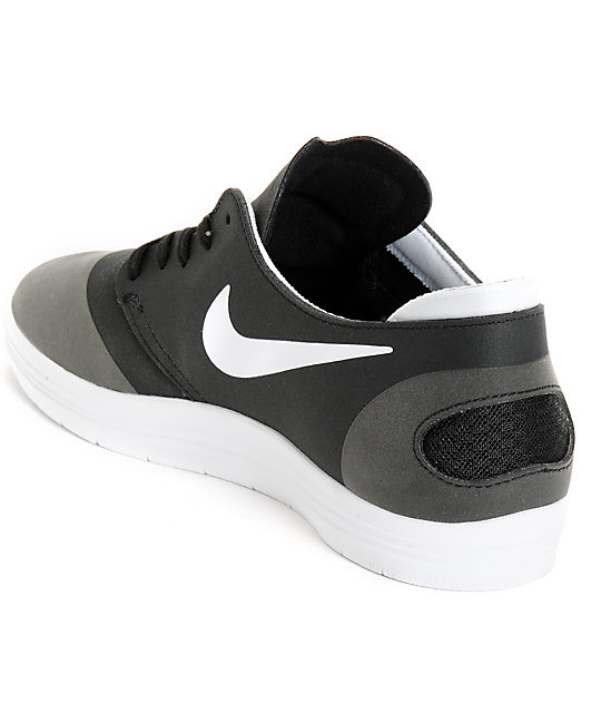 ... Nike SB Lunar Oneshot Black & White Skate Shoes ...