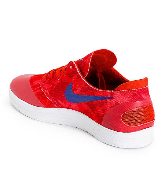 5127abe97cdd ... Nike SB Lunar Oneshot Light Crimson   Blue Print Skate Shoes ...
