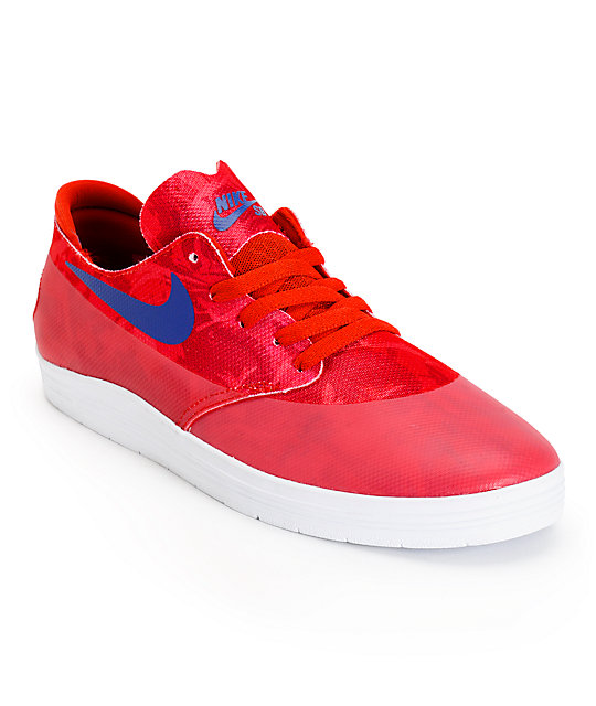 Nike SB Lunar Oneshot Light Crimson & Blue Print Skate Shoes ...