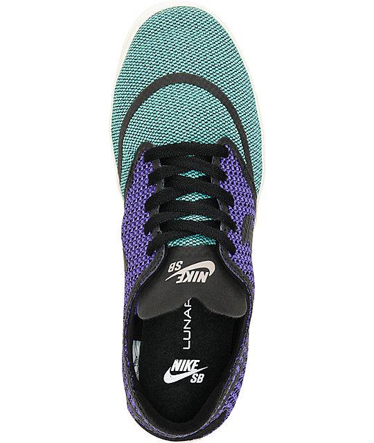 save off 94ad8 828fe ... Nike SB Lunar Oneshot RR Crystal Mint, Black,   Hyper Grape Shoes ...