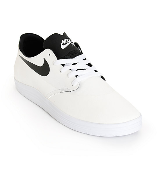Nike SB Lunar Oneshot White & Black Skate Shoes ...
