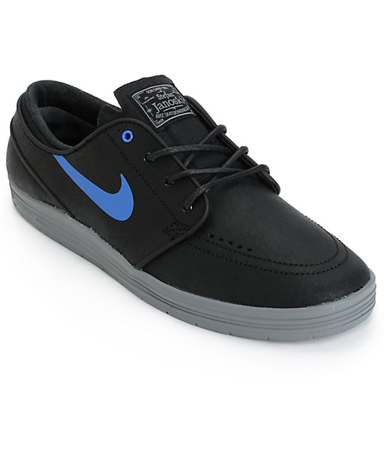 uk availability f803a 3bbd8 Nike SB Lunar Stefan Janoski Black   Royal Blue Skate Shoes   Zumiez