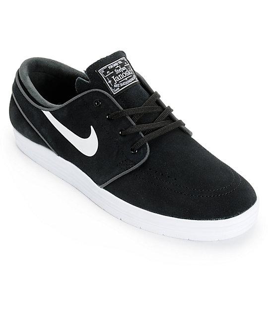654d6c6d432 Nike SB Lunar Stefan Janoski Black   White Skate Shoes