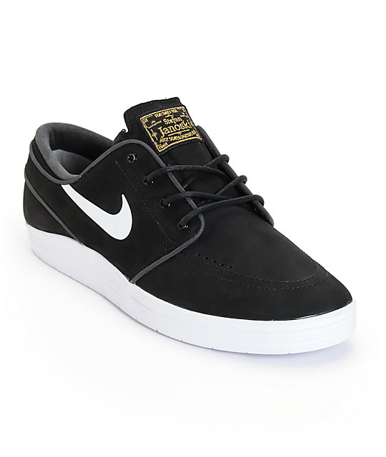 Nike SB Lunar Stefan Janoski Black & White Skate Shoes ...