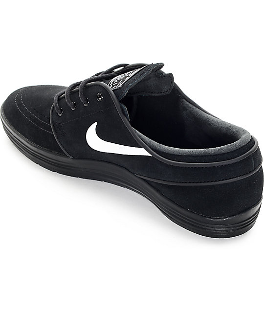 quality design b9db8 9bacf ... Nike SB Lunar Stefan Janoski Black and White Skate Shoes ...