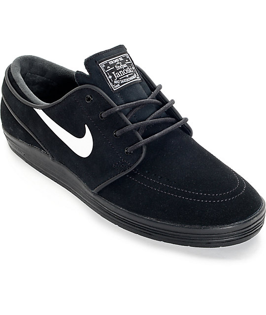 Nike SB Lunar Stefan Janoski Black and White Skate Shoes ...