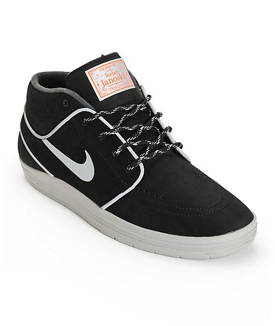 Nike SB Lunar Stefan Janoski Mid Black   Silver Reflective Skate Shoes  23640350d407