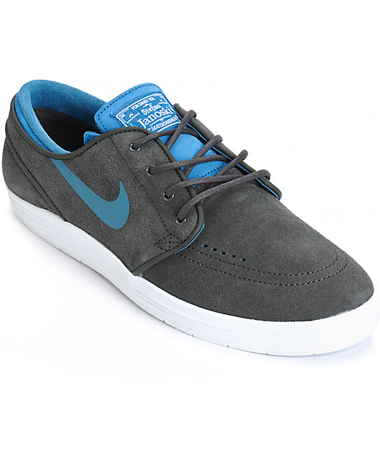 huge discount 99e2b 06854 Nike SB Lunar Stefan Janoski Pewter   Blue Skate Shoes ...