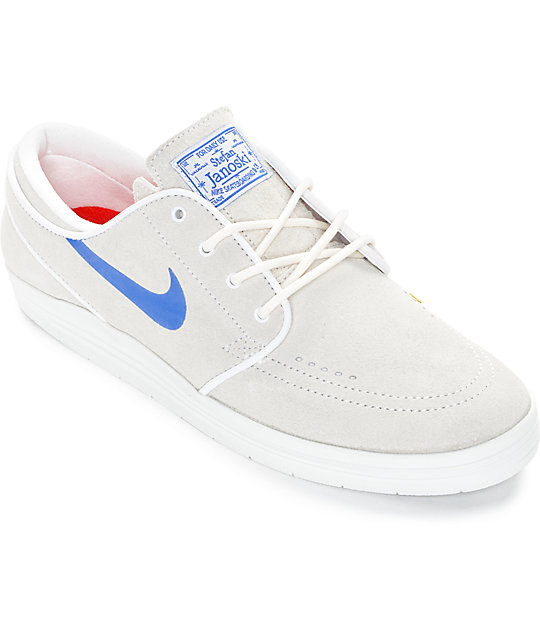 997cd8d80698 Nike SB Lunar Stefan Janoski Summit White   Royal Blue Skate Shoes ...