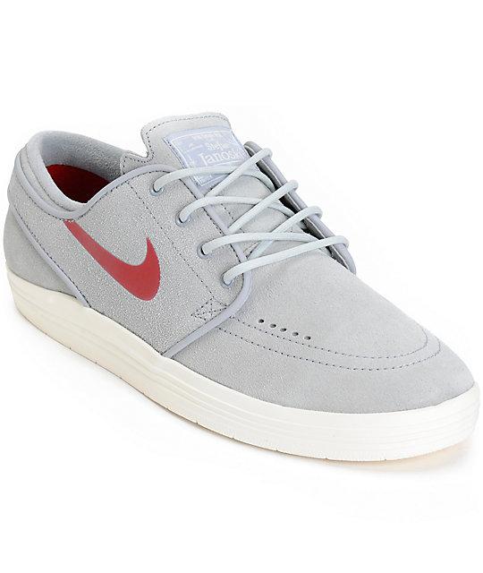 c06ffe5813d1 Nike SB Lunar Stefan Janoski Wolf Grey   Red Sail Skate Shoes