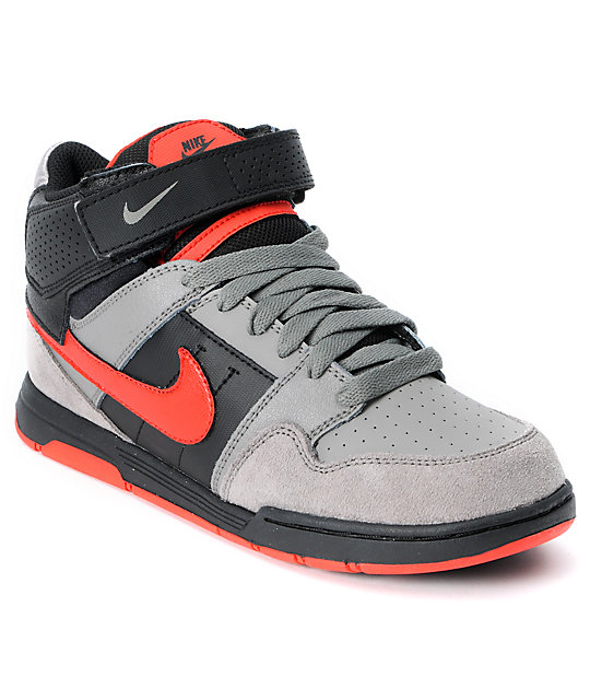 e8469926c2cc Nike SB Mogan Mid 2 Kids Charcoal   Chllng Red Skate Shoes