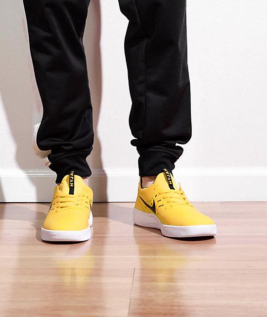 Nike SB Nyjah Free Amarillo, Black & White Skate Shoes | Zumiez