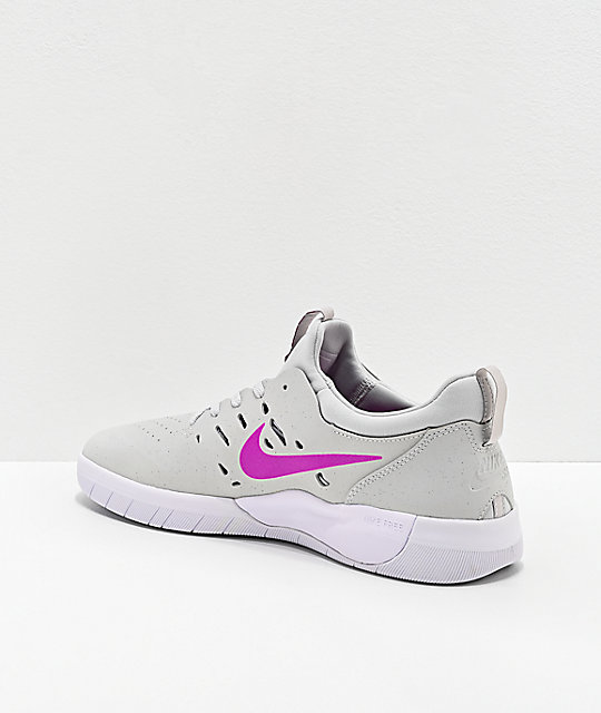 Nike SB Nyjah Free Phantom Grey & Vivid Purple Skate Shoes