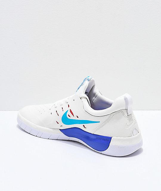 promo codes autumn shoes utterly stylish Nike SB Nyjah Free Summit White & Blue Skate Shoes