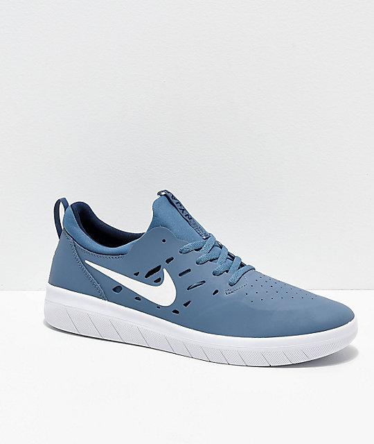 high fashion multiple colors best shoes Nike SB Nyjah Free Thunderstorm Blue & White Skate Shoes