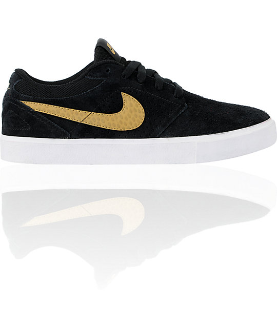 Nike SB P-Rod 5 LR Lunarlon Black, White & Metallic Gold Vulc Skate Shoes