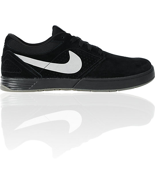 Nike SB P-Rod 5 Low Lunarlon Black, Silver & White Skate Shoes