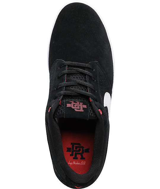 Nike SB P-Rod 5 Low Lunarlon Black, White & Varsity Red Skate Shoes