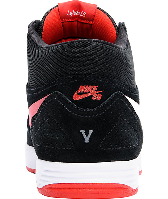 new concept 41e39 35a2b Nike SB P-Rod 5 Mid Lunarlon Black Red Skate Shoes .
