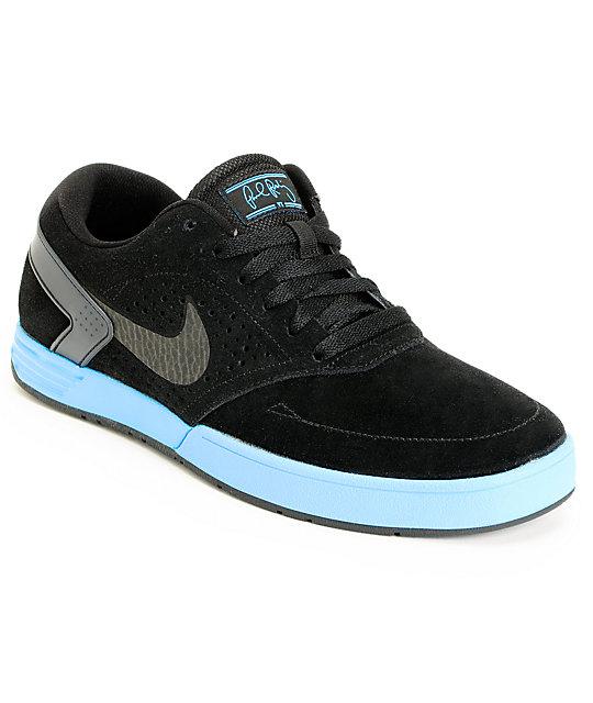 Nike SB P-Rod 6 Lunarlon Black   Blue Glow Skate Shoes  e7d31b0ae