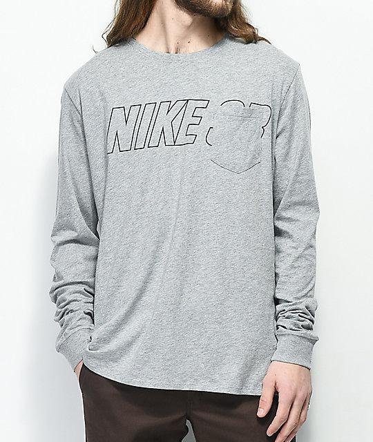 09bac07e Nike SB Pocket Grey Long Sleeve T-Shirt | Zumiez