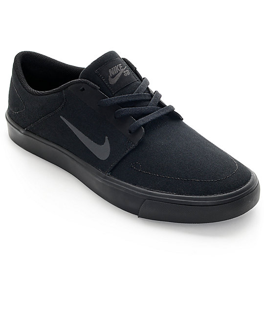 nike sb portmore black & anthracite canvas skate shoes