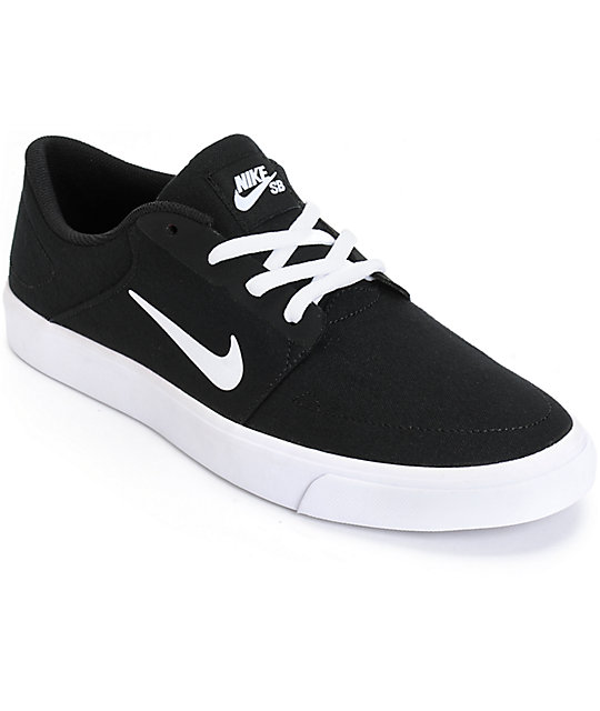 Nike SB Portmore Black & White Skate Shoes ...