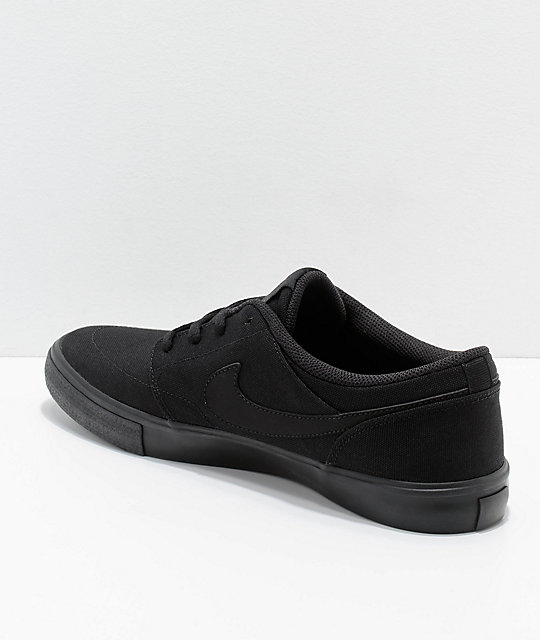 Nike SB Portmore II All Black Canvas Skate Shoes