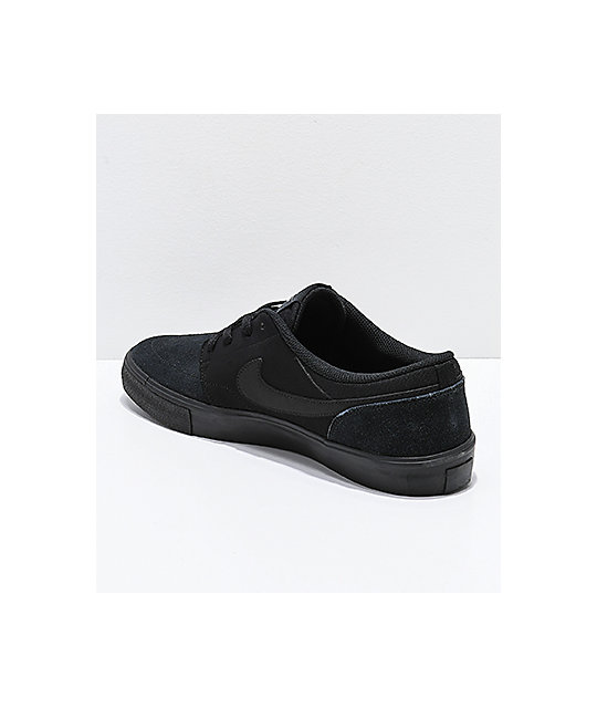Nike SB Portmore II All Black Suede Skate Shoes