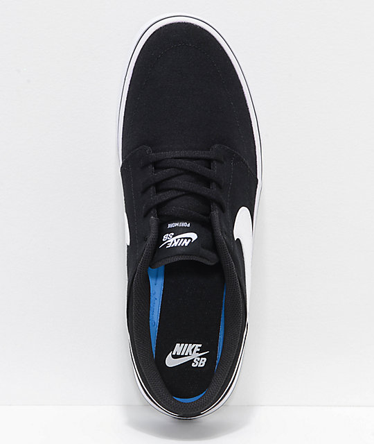 Nike SB Portmore II Black & White Canvas Skate Shoes