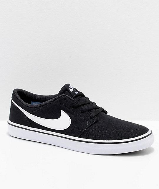 Nike SB Portmore II Black & White Canvas Skate Shoes ...
