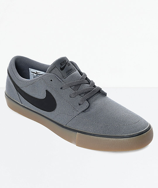 040c2585692e61 Nike SB Portmore II Dark Grey   Gum Canvas Skate Shoes