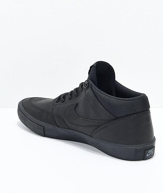 6fdbf3e9a8fe40 ... Nike SB Portmore II Mid Premium Bota Black Skate Shoes ...